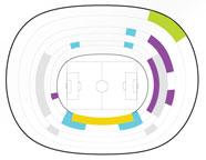 Arenaöversikt Camp Nou fotbollsarena i Barcelona