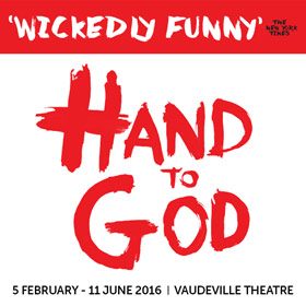 "Book your tickets to Hand To God when it hits London in February! Tthe New Yorker called it ""Sesame Street meets The Exorcists""."