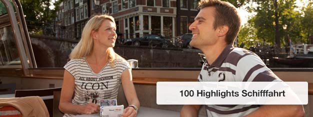 Kaufen Sie Ihre Tickets für die 100 HIghlights Schifffahrt und sehen Sie die schönsten Highlights Amsterdams auf einer Schifffahrt durch die Grachten. Buchen Sie Tickets für die 100 Highlights Schifffahrt hier!