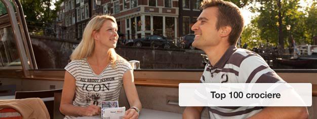 Compra i tuoi biglietti per le Top 100 crociere e visita le bellezze di Amsterdam a bordo di una nave sui canali di Amsterdam. Prenota qui i tuoi biglietti per le Top 100 crociere!