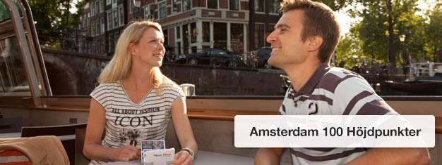 Biljetter till kanalturen 100 Höjdpunkter i Amsterdam! Njut av pittoreska Amsterdam på denna 1 timmes kryssning. Boka biljett till Amsterdam 100 Höjdpunkter!
