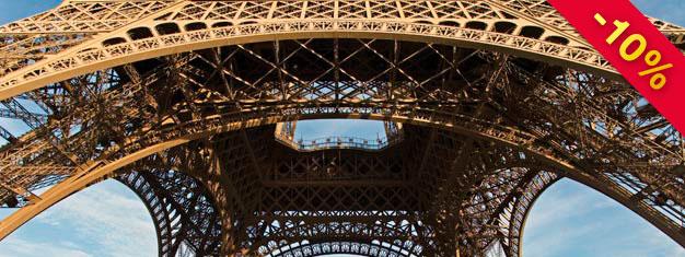 Billetter til en 1-times tur i Paris og et besøk på 2. etasje i Eiffeltårnet. Unngå kø - Billetter med fortrinnsrett - Bestill Paris Eiffel Tour nå!