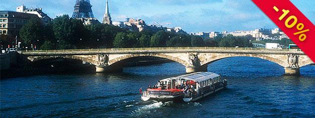 Boka biljetter till Sightseeing Paris, Kryssning & Eiffeltornet - på land, till sjöss och i luften. Slipp köerna vid Eiffeltornet! Du får mycket för pengarna!