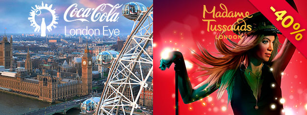 Besök Madame Tussauds och London Eye med ett exklusivt 2-in-1 London Kombo biljettpaket. Du sparar 40% jämfört med att köpa biljetterna individuellt vid dörren.