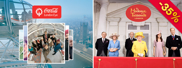 Visit Madame Tussauds and London Eye with this 2-in-1 London Combo Deal. You save 35% compared to buying the tickets individually at the door.
