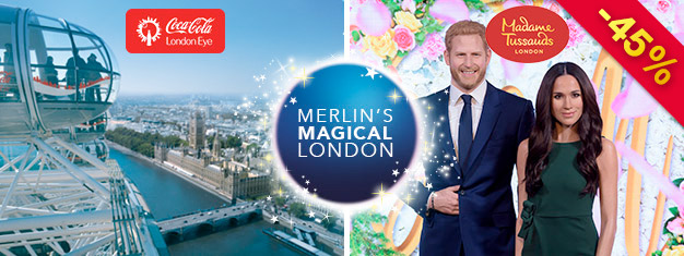 Visit Madame Tussauds and London Eye with this 2-in-1 London Combo Deal. You save 45% compared to buying the tickets individually at the door.