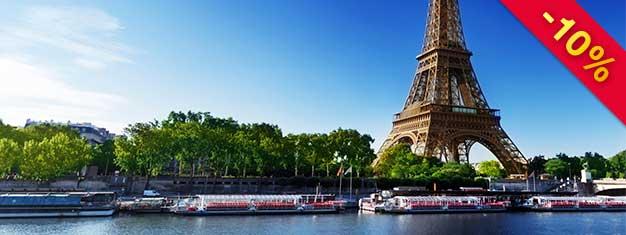 Salta las filas a la Torre Eiffel! Visitas los tres pisos, incluyendo el tercer piso, la más alta! También podrá disfrutar un estupendo crucero el día que quiera. Reserva ya!