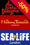 Pakiet 3 w 1: Madame Tussauds, London Dungeon i SEA LIFE London