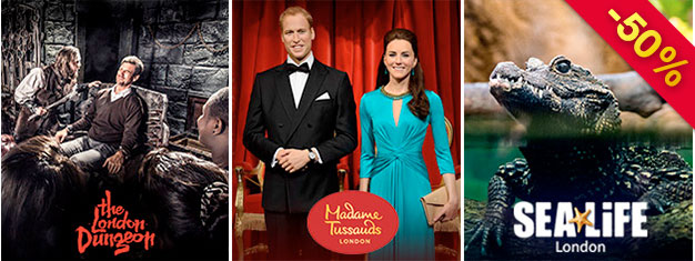 Spara 50% på tre av Londons coolaste sevärdheter - Madame Tussauds, London Dungeon & SEA LIFE London! Denna 3-in-1-London biljett kombo finns endast online!