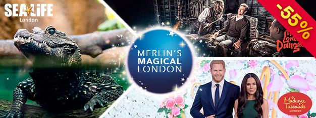Spara 50% på tre av Londons coolaste sevärdheter - Madame Tussauds, London Dungeon & SEA LIFE London! Denna 3-in-1-London biljett kombo finns endast online!