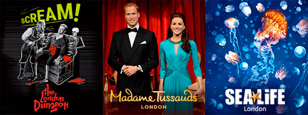 Save 50% on three of London's coolest attractions - Madame Tussauds, London Dungeon & SEA LIFE London! This 3-in-1 London Combo is only available online!