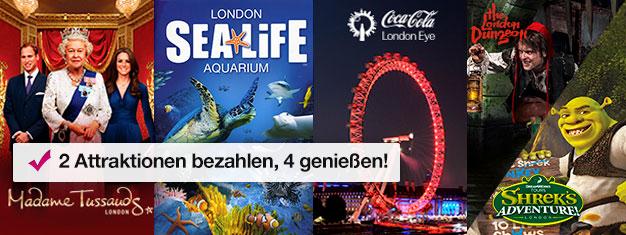 Kaufen Sie 2 Attraktionen und erhalten Sie extra 2 dazu! Madame Tussauds, London Eye, London Aquarium + Shre's Adventure oder London Dungeon.