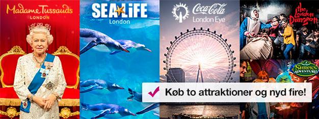 Køb 2 og få 2 ekstra seværdigheder! Besøg Madame Tussauds, London Eye, London Akvarium + Shrek's Adventure eller London Dungeon. Bestil online!