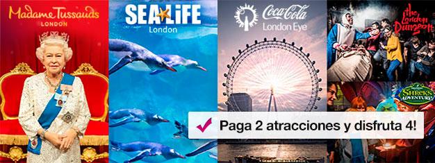 Compra 2 atracciones y consigue 2 gratis! Visita Madame Tussauds, London Eye, London Aquarium y elige entre Shrek's Adventure o el London Dungeon.
