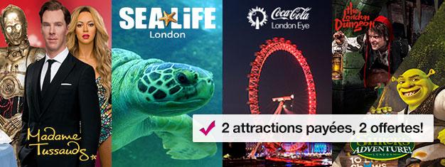 Achetez 2 billets et bénéficiez de 2 attractions supplémentaires! Visitez Madame Tussauds, London Eye, Aquarium de Londres + Shrek's Adventure ou London Dungeon.
