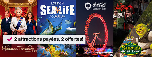Achetez 2 billets et bénéficiez de 2 attractions supplémentaires! Visitez Madame Tussauds, London Eye, Aquarium de Londres + Shrek's Adventure ou London Dungeon.