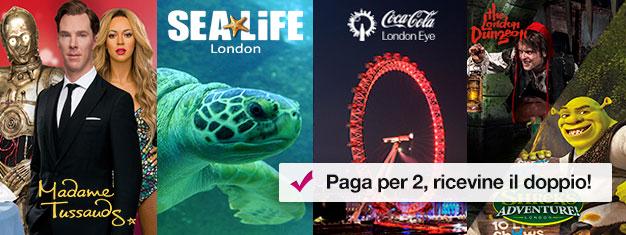 Compra 2 biglietti e ricevine altri due gratuitamente! Visita Madame Tussauds, London Eye, SEA LIFE Aquarium e o Shrek's Adventure o London Dungeon.