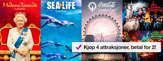 Kjøp 2 og få 2 ekstra topp attraksjoner! Besøk Madame Tussauds, London Eye, London Aquarium + Shrek's Adventure eller London Dungeon. Bestill på nett!