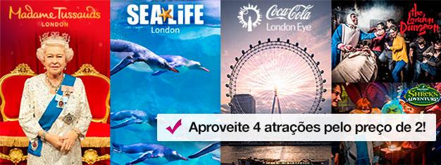 Compre 2, ganhe 2 atracções extra! Visite o Madame Tussauds, a London Eye, London Aquarium + Shrek's Adventure! ou a London Dungeon. Reserve online!