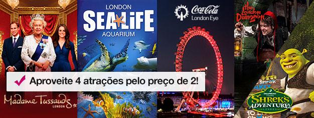 Compre 2, ganhe 2 atrações extra! Visite o Madame Tussauds, a London Eye, London Aquarium + Shrek's Adventure! ou a London Dungeon. Reserve online!