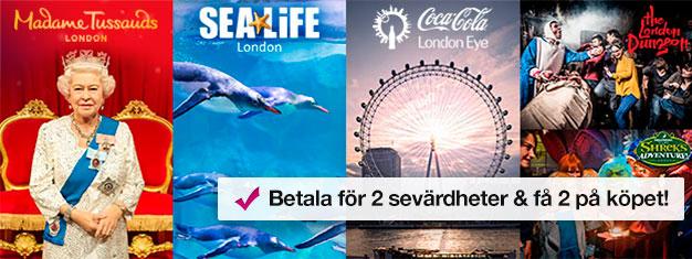 Köp entrébiljetter till 2 attraktioner, få 2 turistattraktioner på köpet! Besök Madame Tussauds, London Eye, London Aquarium + Shrek's Adventure eller Dungeon.