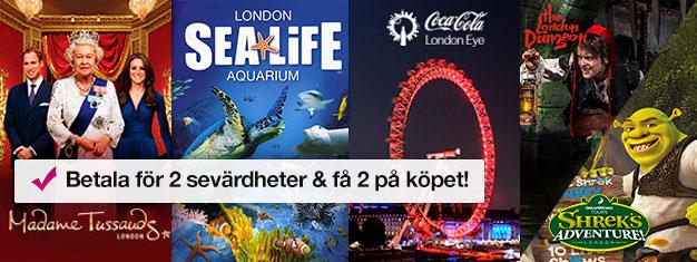 Köp 2 och få 2 turistattraktioner på köpet! Besök Madame Tussauds, London Eye, London Aquarium + Shrek's Adventure eller London Dungeon. Boka online!