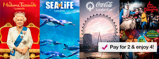 Buy 2 and get 2 extra top attractions! Visit Madame Tussauds, London Eye, London Aquarium + Shrek's Adventure or London Dungeon. Book online!