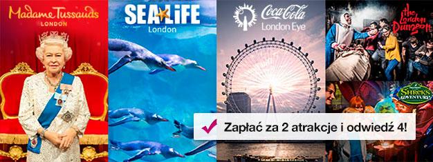 Kup 2 bilety i odbierz gratis 2 kolejne! Odwiedź Madame Tussauds, London Eye, London Aquarium + Shrek's Adventure lub London Dungeon. Zarezerwuj online!