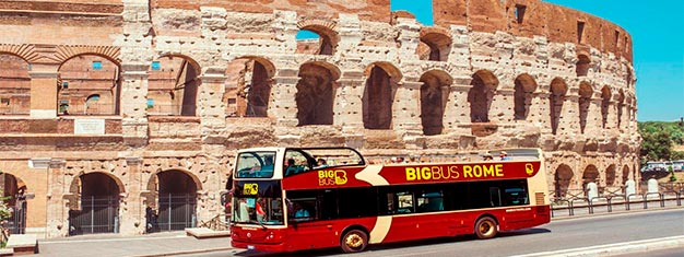 Se Roms mest berømte seværdigheder med Big Bus! Vælg ml. 24 eller 48-timers billetter. Få 4 gratis sightseeingture inkluderet. Bestil din bustur her!