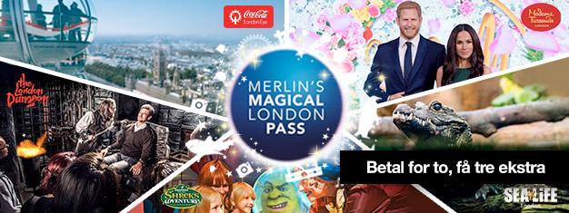 Køb 2 og få 3 ekstra seværdigheder! Besøg Madame Tussauds, London Eye, London Akvarium, Shrek's Adventure og London Dungeon. Bestil dine billetter online!