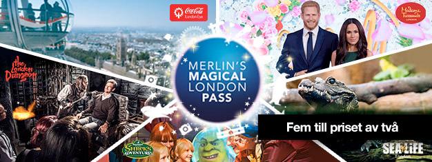 Köp entrébiljetter till 2 attraktioner, få 3 turistattraktioner på köpet! Besök Madame Tussauds, London Eye, London Aquarium, Shrek's Adventure + Dungeon.