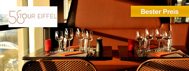 Genießen Sie ein leckeres Mittagessen im Restaurant 58 im Eiffelturm im Herzen von Paris. Fantastische Aussicht vom Eiffelturm. Online buchen!