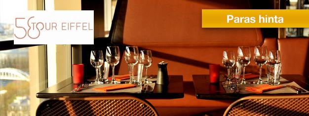 Nauti lounaasta ravintola 58 Tour Eiffelissä Eiffel-tornissa Pariisin sydämessä. Ruoka on erinomaista ja näkymät kerta kaikkiaan henkeäsalpaavat. Osta liput netistä!