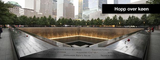 Slippkøen til 9/11 Memorial Museum! Med forhåndsbestilte billetter får du en eksakt tid du kan besøkemuseet, for å unngå lange køer!
