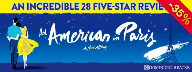 Musikalen An American In Paris är en prisbelönt, spännande scenuppsättning med fantastisk dans och några av George och Ira Gershwins bästa sånger. Nu i London!