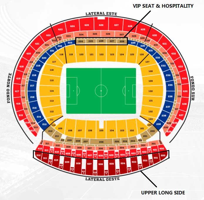 Plan de l'arène Estadio Wanda Metropolitano