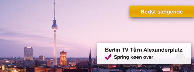 Spring køen over til det populære TV-tårn i Berlin! Nyd den 360 graders panoramaudsigt over Berlin fra 207 meters højde. Bestil dine billetter her!