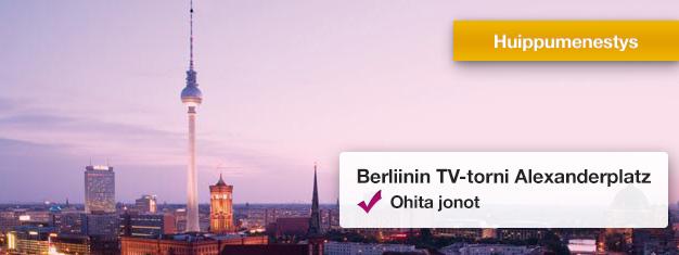 Ohita jonot tunnettuun Berliinin TV-torniin! Nauti 360 asteen panoraamanäkymistä 207 metrin korkeudelta katsottuna. Osta lippusi jo tänään!