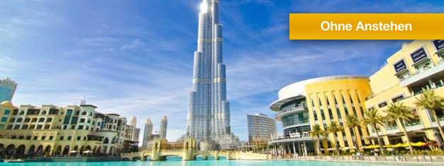 Warteschlange vor dem berühmtesten Gebäude in Dubai, demBurj Khalifa, umgehen und die fantastische Aussicht genießen! Tickets werden ins Hotel geliefert! Online buchen!