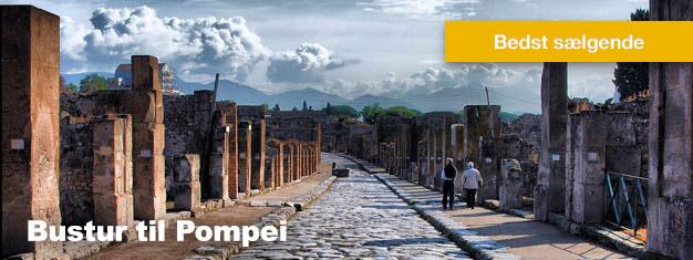 Denne bustur til Pompei er en rejse tilbage i tiden, hvor du vil opleve de gamle ruiner i Pompei. Frokost inkluderet. Bestil din tur til Pompeii her!