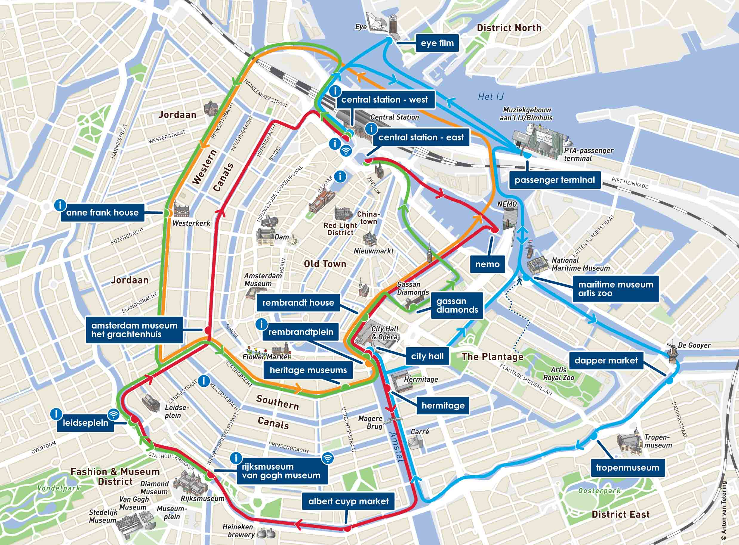 view map. tickets to hopon hopoff canal bus  transport pass
