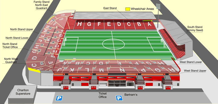 Plano del estadio The Valley