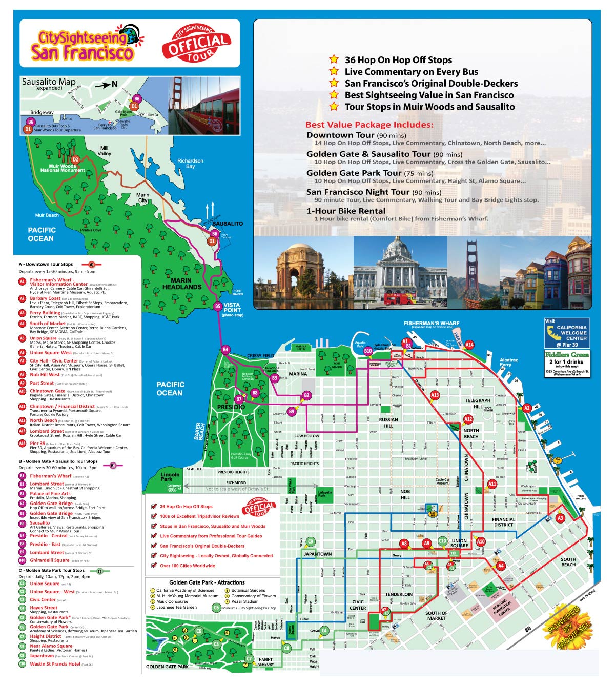 Sightseeing or Tour deals in San Francisco, CA: 50 to 90% off deals in San Francisco. Hop On/Hop Off Tour for Adults or Children from City Sightseeing (Up to 36% Off). Double-Decker Night Bus Tour for One Adult or One Child from City Sightseeing (Up to 12% Off). Muir Woods, Giant Redwoods, and Sausalito Half-Day Trip.