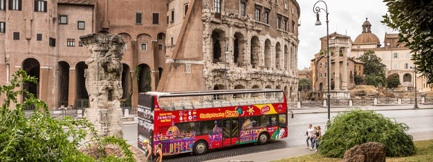 Hop onboard the red CitySightseeing Hop-On Hop-Off bus and discover Rome! Choose between 24, 48 or 72-hour tickets. Book your bus tickets from home!