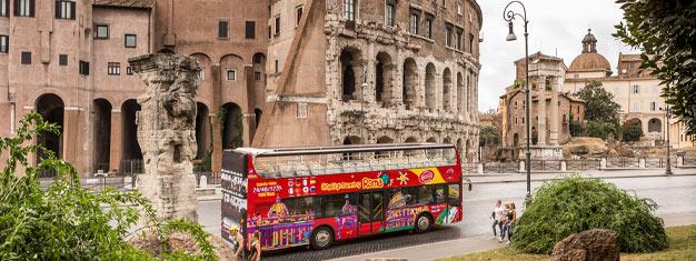 Utforska Rom med de röda CitySightseeing Hop-on Hop-off bussarna! Välj mellan 24, 48 eller 72-timmars biljetter. Boka dina bussbiljetter hemifrån!