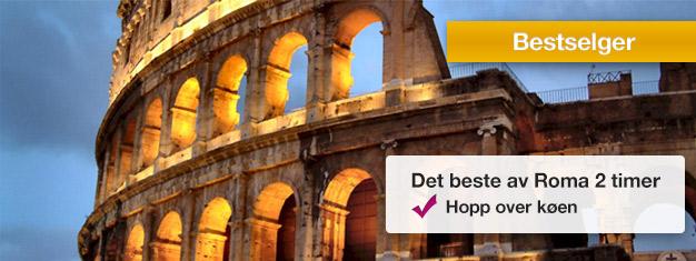 Dra på en guidet tur til Colosseum og Forum Romanum og slipp de lange køene! Lærom antikkens Roma av guiden din. Bestill billetter på nettet!