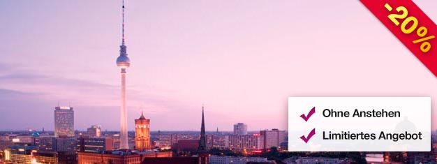 Besuchen Sie den Berliner Fernsehturm früh morgens mit einem Early Bird Ticket! Genießen Sie die wunderbare Aussicht aus 207 Metern Höhe. Schlange überspringen, jetzt buchen!