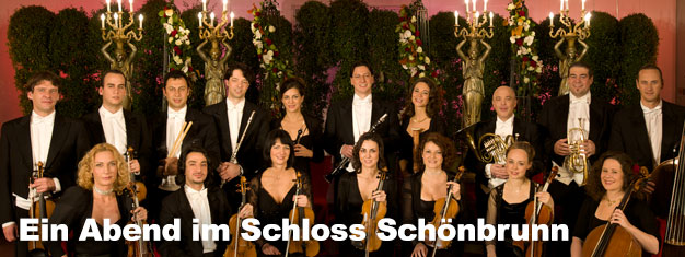 Ein Abend im Schloss Schönbrunn ist unvergesslich. Kombinieren Sie Ihr Ticket für die Schloss Schönbrunn Tour in Wien mit einem wunderbaren Dinner oder einem Konzert in der Orangerie!