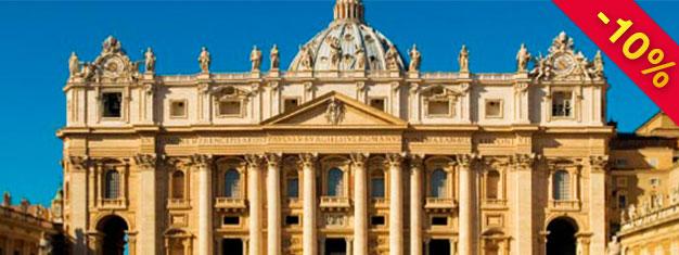 Njuta av en förlängd tur i Vatikanen, som omfattar Bramante-trappan, Sixtinska kapellet, Pinacoteca och Peterskyrkan. Boka biljetter på nätet!