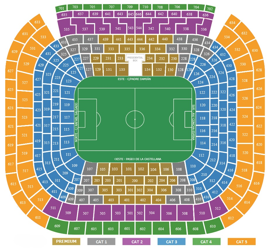 Seatingplan Santiago Bernabeu